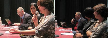 Cristina Filipe, Prof. Dr. Maria de Fátima Morethy Couto e Prof. Dr. Edson Pfutzenreuter durante a mesa redonda
